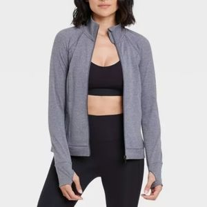 All In Motion gray zip running top shirt jacket L
